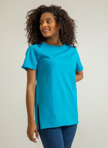 Foremia Bisiklet Yaka Basıc T-Shirt Mavi